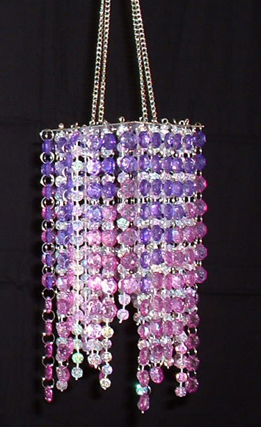 Hand Beaded Chandelier -- Purple & Pink -- 20 Inches Long