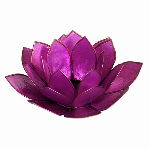 Purple Capiz Shell Lotus Candle Holder