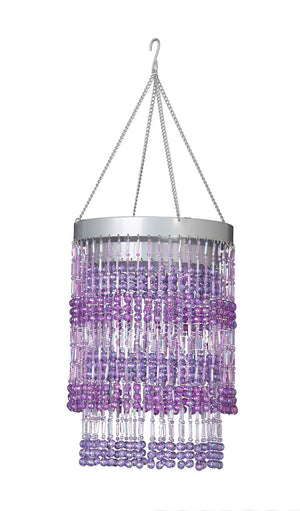 Purple Two Tier Beaded Chandelier -- Faceted Balls