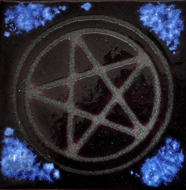 Square Heat Purple and Blue Glazed Pentagram Trivet Tile -- Made in the USA 1999