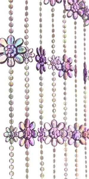 6' Purple Daisy Flowers Beaded Curtain
