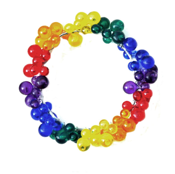 5 Large Beaded Candle Ring Holders, Choose from Different Colors, Rainbow, Blue, Pearl, Clear