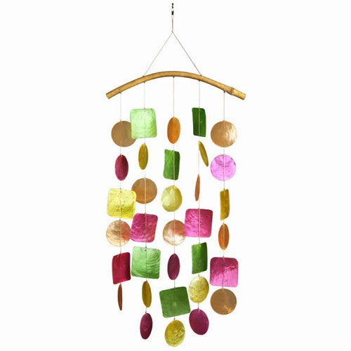 Capiz Shell Windchime -- Gypsy Pastel Rainbow with Bamboo Branch