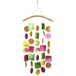 Capiz Shell Windchime -- Gypsy Rainbow with Bamboo Branch