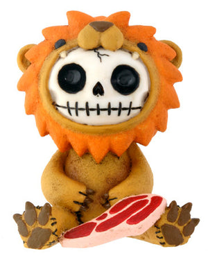 Furrybones Raion Skeleton in Lion Costume with Meat Figurine
