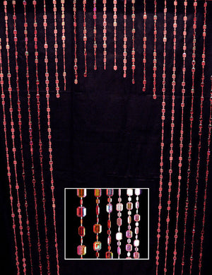 Iridescent Red & Pink Arched Beaded Curtain -- Emerald Cut