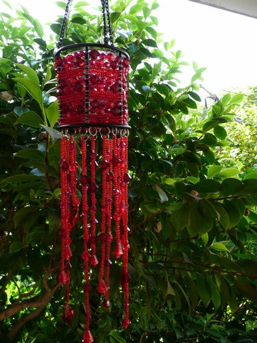 Red Seed Beads Beaded Hanging Candle Holder