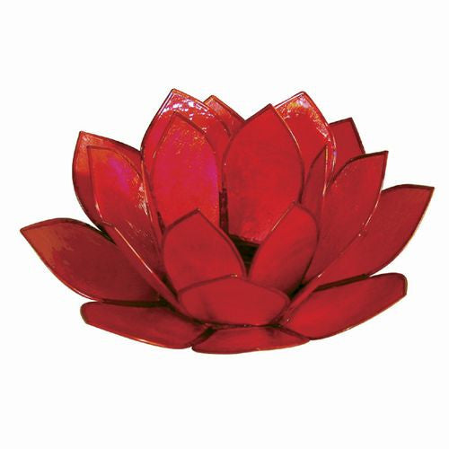 Red Capiz Shell Lotus Candle Holder