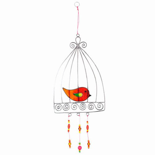 Red & Orange Love Bird in a Cage Suncatcher