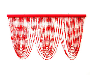 Red & Burgundy Swag Beaded Curtain Window Valance