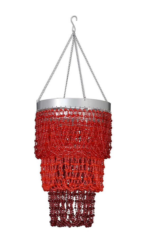 Beaded Red Mini Ball Three Tier Chandelier