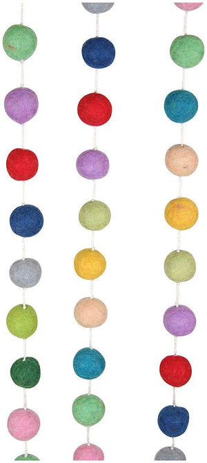 6' Merry Merry Muted Colors Felted Pom Pom Garland