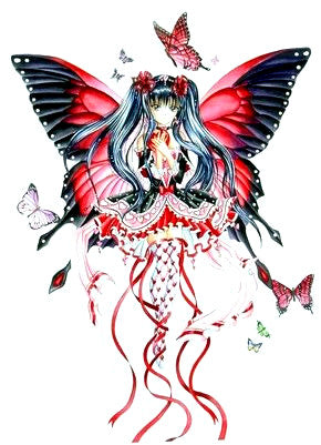 Nene Thomas Anime Red Hearts Fairy and Butterfly Die Cut Sticker Decal