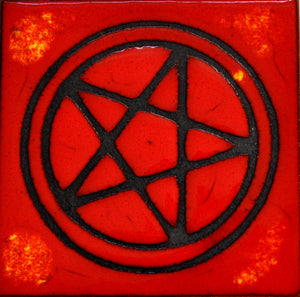 Square Heat Red and Black Glazed Pentagram Trivet Tile -- Made in the USA 1999