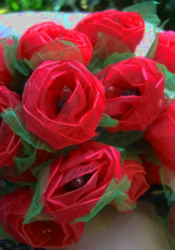 Red Roses and Green Leaves String Lights -- 9 Feet in Length
