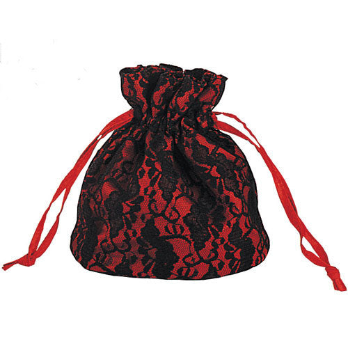 Pleaser Satin Black Lace Overlay Gothic Bag Red or Purple