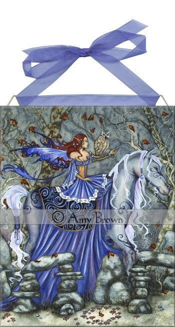 Amy Brown Rhiannon Fairy Ceramic Tile Art -- Horse & Owl