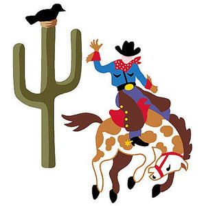 Wallies Olive Kids Ride'm Cowboy and Cactus Wallpaper Cutouts