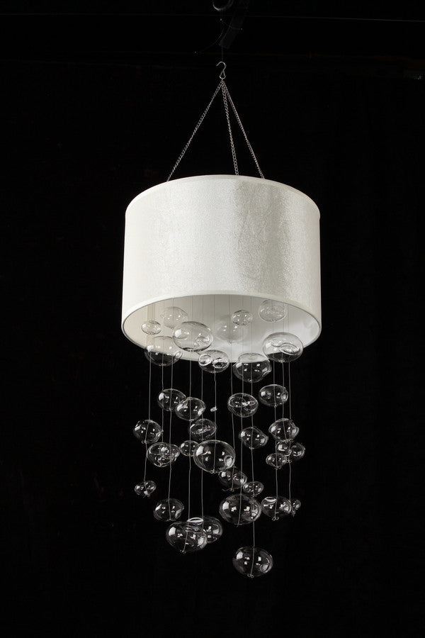 Faux White Suede Glass Bubble Globe Chandelier