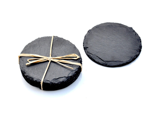 Slate Grey Stone Chalkboard Round Coasters -- Set of Four -- Industrial Wedding