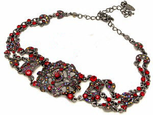 Victorian Choker Necklace with Ruby Austrian Crystals