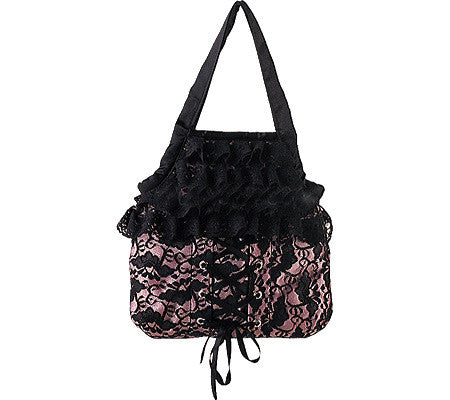 Demonia Satin Pink & Black Lace Purse Bag