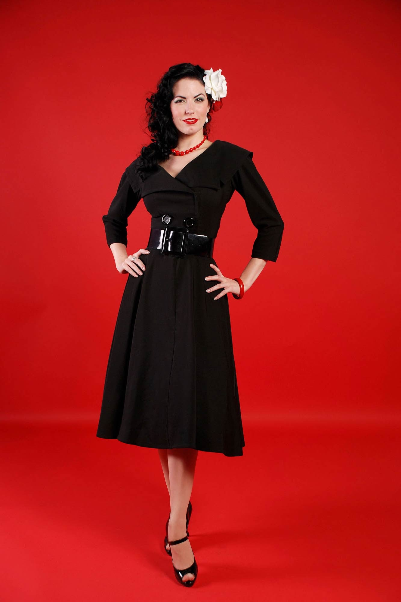 Bettie Page Secretary Circle Black Dress -- Size Large -- Last One