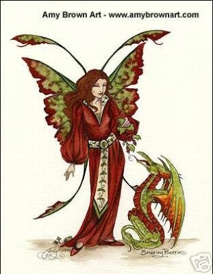 Amy Brown Sharing Berries Dragon Fairy Print