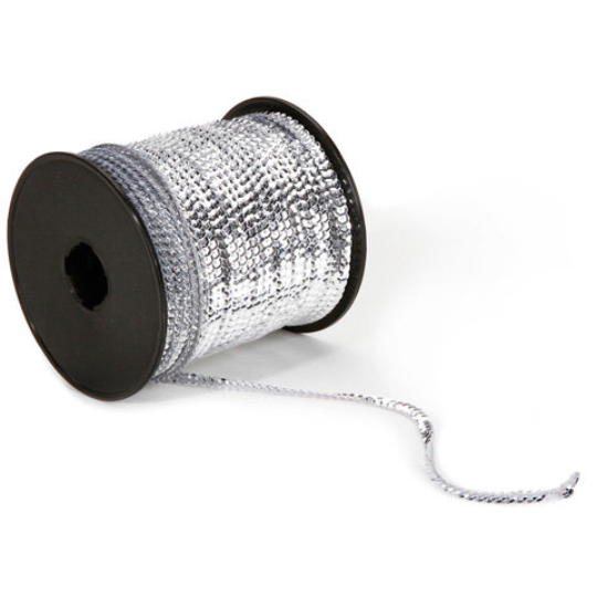 Silver Sequin Ribbon Trim on Roll -- 72 Yards