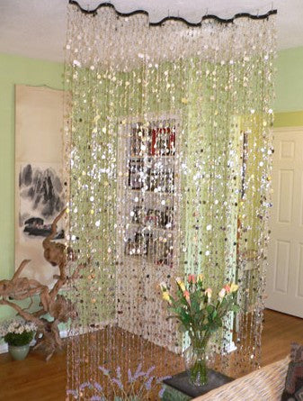 Wave Beaded Curtain -- Silver Bubbles -- 2 Feet Wide -- 8 Feet Long & Beaded Curtains -- Door Beads tagged \