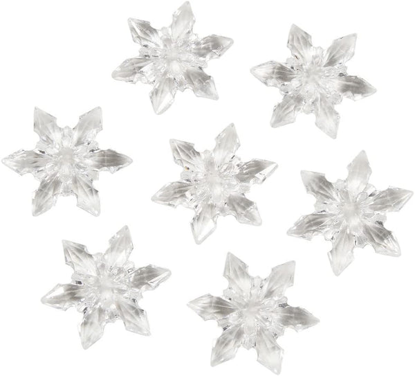 60 Clear Acrylic Snowflake Shaped Scatter Beads