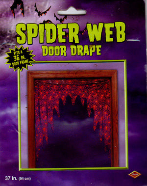 Halloween Spider Web Black Orange Door Drape