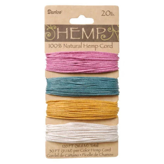 4 Colors of Hemp Cord, Pink, Green, Mustard, White-- 120 Feet - 20lb Wt
