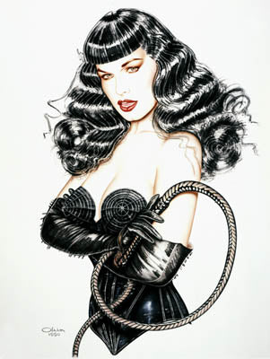 Bettie Page Stinger Whip Bondage Note Card by Olivia De Berardinis