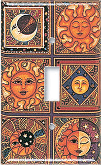 Celestial Moon and Sun Switch Plate or Rocker Plate by Dan Morris