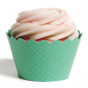 Teal Mini Polka Dots Designer Cupcake Wrappers
