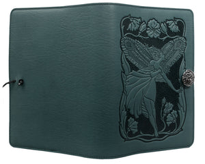Small Teal Fairy Leather Journal Cover by Oberon Design