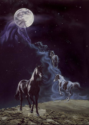 Kim McElroy The Legend Horses Ascending Greeting Card