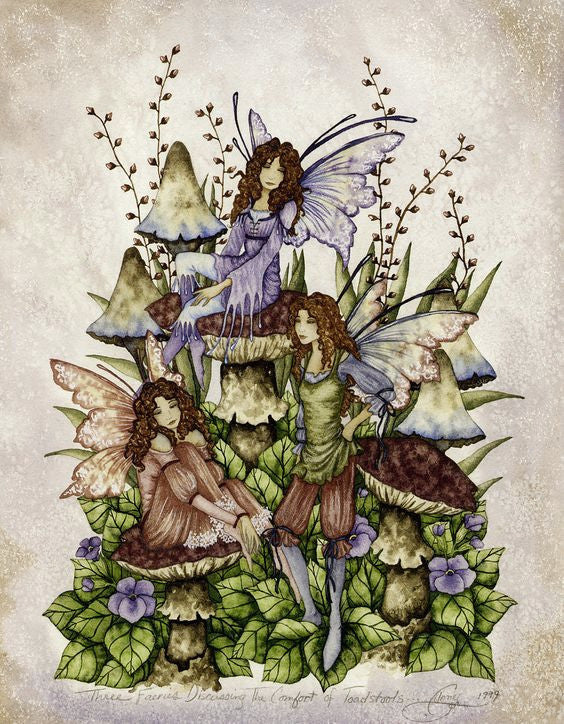 Amy Brown Three Fairies Discussing The Comfort of Toadstools Fairy Print