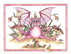 Amy Brown Too Much Ice Cream Dragon Print -- Out of Print