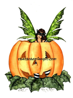 Amy Brown Halloween Fairy Pumpkin Trick or Treat Print