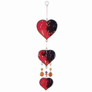 Triple Red Purple Orange Hearts Suncatcher