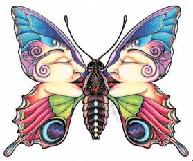Twin Face Colorful Butterfly Sticker