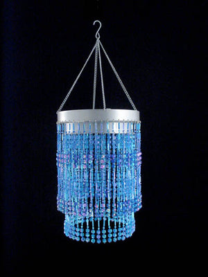 Blue Two Tier Beaded Chandelier -- Faceted Balls