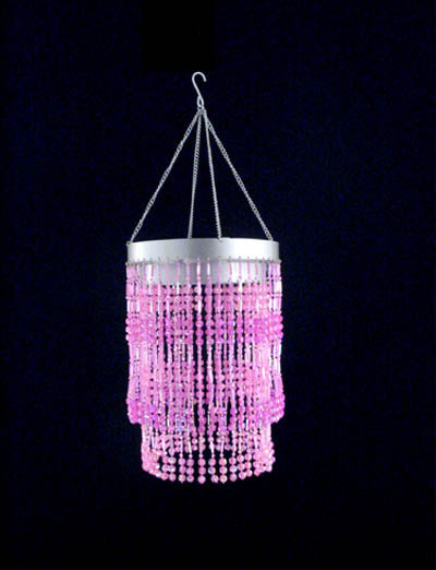 Pink Two Tier Beaded Chandelier -- Faceted Balls
