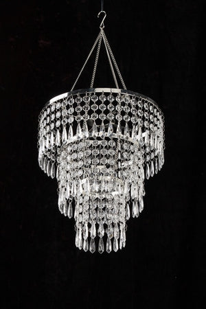 LED Battery Operated Hand Beaded Vintage Style Clear Chandelier