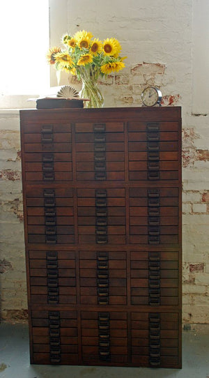 Vintage Wood Document Holder Storage Cabinet, 1940's Security Exchange Commission, 72 Drawers