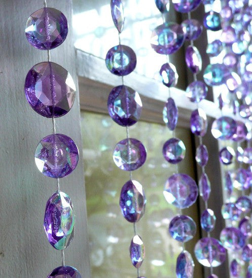 Violet Beaded Curtain -- Large Diamond Cut Shapes