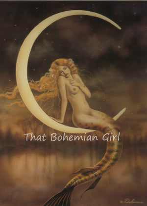 David Delamare Mermaid Waning Moon Matted Print
