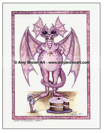 Amy Brown Want Chocolate Cake Dragon Egg Print